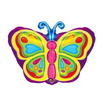 Palloncino Mylar 45 cm. Rainbow Colorful Butterfly