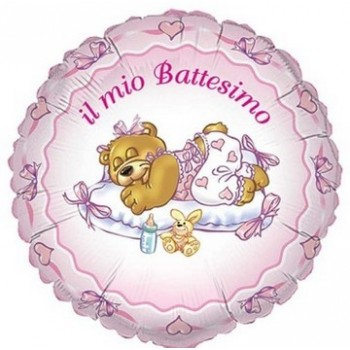 Palloncino Mylar 45 cm. Bimba - Battesimo Rosa