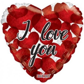 Palloncino Mylar 45 cm. I Love You Balloon Many Red Hearts