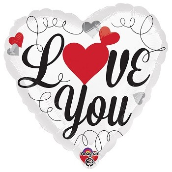 Palloncino Mylar 45 cm. Love You Red & Black