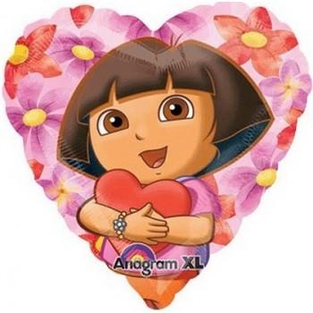 Palloncino Mylar 45 cm. Dora The Explorer Hearts Hug