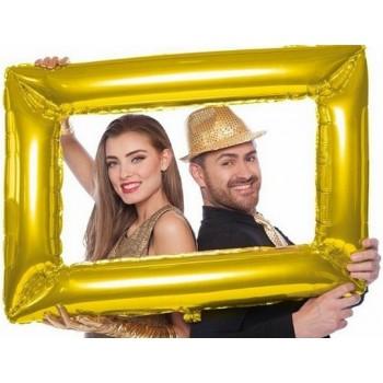 Palloncino Mylar Supershape 85 x 60 cm Cornice Photo Booth Oro - NO ELIO