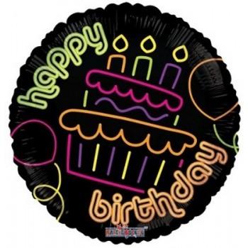 Palloncino Mylar 45 cm. R - Birthday Cupcake Neon Gellibean