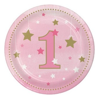 Primo Compleanno Bimba One Little Star Girl - Piatto Carta 18 cm. - 8 pz