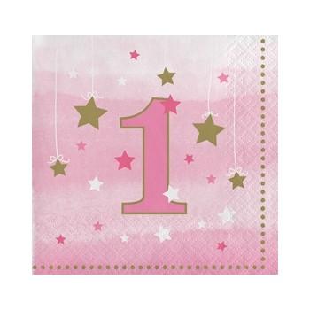 Primo Compleanno Bimba One Little Star Girl - Tovagliolo 25x25 cm. - 16 pz.