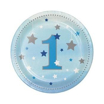 Primo Compleanno Bimbo One Little Star Boy - Piatto Carta 18 cm. - 8 pz