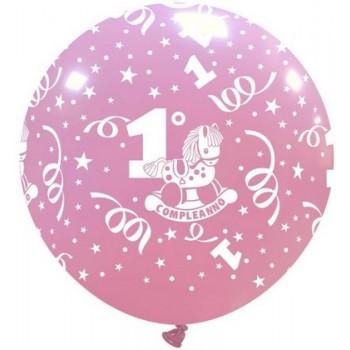 Palloncino in Lattice Rotondo 80 cm. Stampa 1° Compleanno Bimba