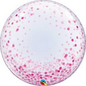 Palloncino Bubble 61 cm. Confetti Rosa