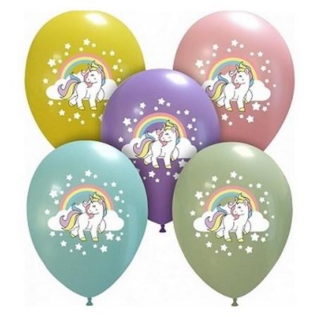 Palloncino in Lattice Rotondo 30 cm. Stampa Unicorno Multicolor