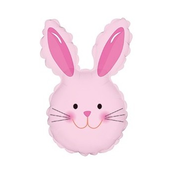 Palloncino Mylar Mini Shape 35 cm. Easter Happy Bunny Head Pink