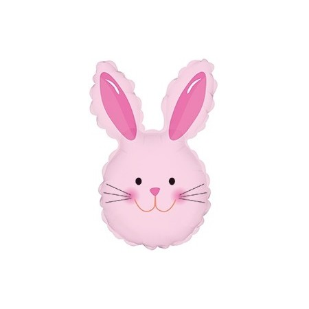 Palloncino Mylar Mini Shape 35 cm. Easter Happy Bunny Head Pink