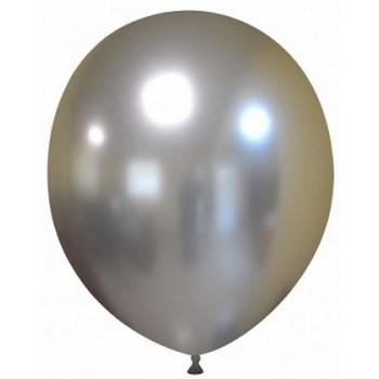 Palloncino in Lattice Rotondo 30 cm. Chrome Silver