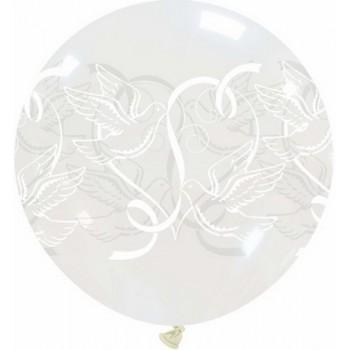 Palloncino in Lattice Rotondo 80 cm. Stampa Colombe Sposi Trasparente