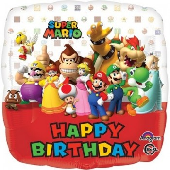 Palloncino Mylar 45 cm. Mario Bros Happy Birthday
