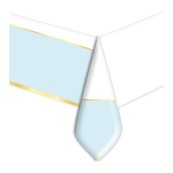 Coordinato - Tovaglia Plastica Chic Azzurra 140 x 270 cm.