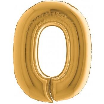 Palloncino Mylar Numero Maxi Oro 0 - 100 cm.