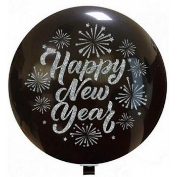 Palloncino in Lattice Rotondo 80 cm. Stampa Happy New Year Nero Glitter