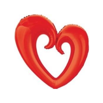 Palloncino Mylar 100x108 cm. Cuore a Ciambella Rosso