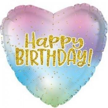Palloncino Mylar 45 cm. C - Happy Birthday Iridescent