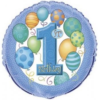 Palloncino Mylar 45 cm. First Birthday 1° Blue
