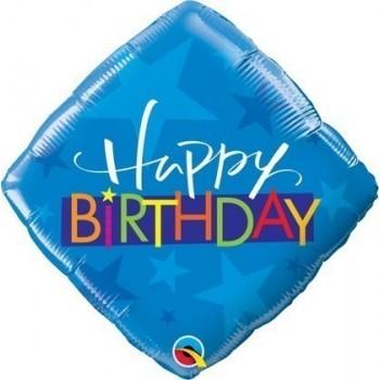 Palloncino Mylar 45 cm. Q - Birthday Blue Stars