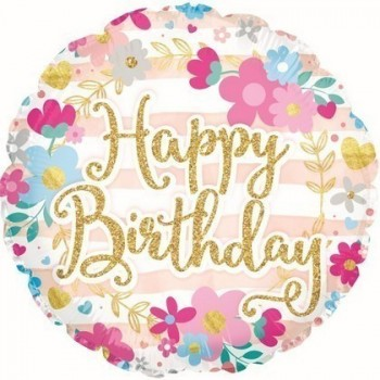 Palloncino Mylar 45 cm. R - Birthday Glitter Font