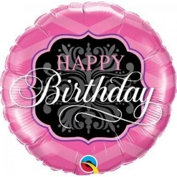 Palloncino Mylar 45 cm. R - Birthday Pink & lack