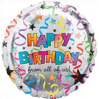 Palloncino Mylar 45 cm. R - Happy Birthday From All Of Us