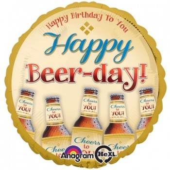 Palloncino Mylar 45 cm. R - Happy Beer-Day