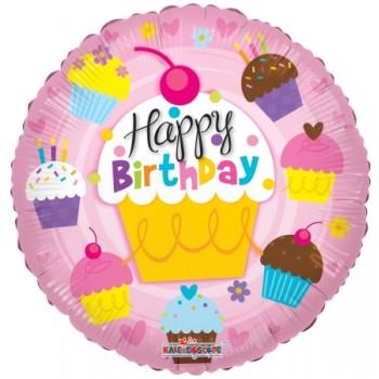 Palloncino Mylar 45 cm. R - Happy Birthday Cupcakes