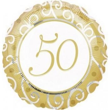 Palloncino Mylar 45 cm. 50° Happy Anniversary