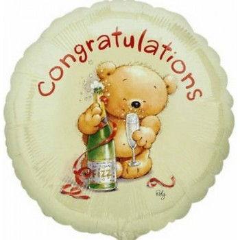 Palloncino Mylar 45 cm. Roly Bear Congratulations