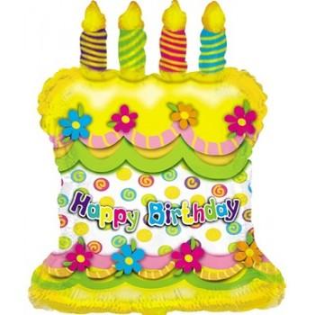 Palloncino Mylar 63 cm. Happy Birthday Cake Yellow