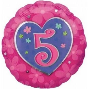 Palloncino Mylar 45 cm. Age 5° Flower Pink Birthday