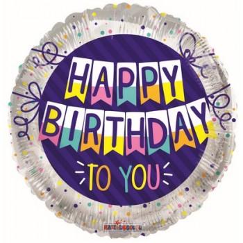 Palloncino Mylar 45 cm. R - Happy Birthday To You Banner