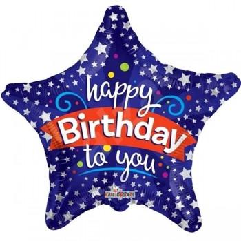 Palloncino Mylar 45 cm. S - Blue Birthday Stars