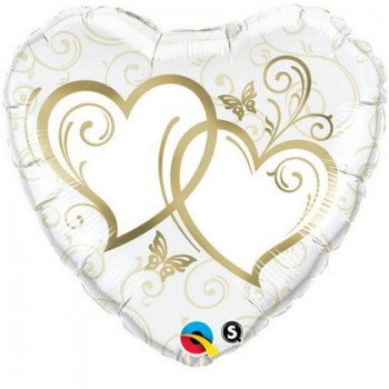 Palloncino Mylar 45 cm. Heart Entwined Hearts Gold