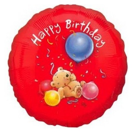 Palloncino Mylar 45 cm. Happy Birthday Orsetto con palloncino