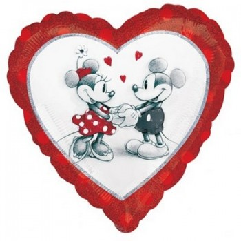 Palloncino Mylar 45 cm. Minnie & Mickey Mouse Holographic Love