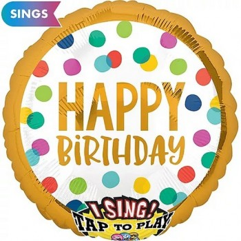 Palloncino Mylar Musicale 71 cm. Happy Birthday Dots