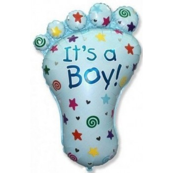 Palloncino Mylar Super Shape 96 cm. Boy - It's a Baby Boy Foot