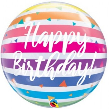 Palloncino Bubble 56 cm. Happy Birthday Bright Rainbow Stripes