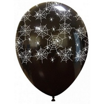 Palloncino in Lattice Rotondo 30 cm. Halloween Stampa Ragnatele