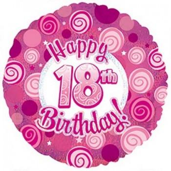 Palloncino Mylar 45 cm. 18° Happy Birthday Pink Dazzeloon