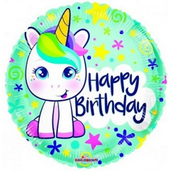 Palloncino Mylar 45 cm. Birthday Cute Unicorn Gelli