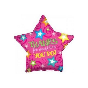 Palloncino Mylar Mini Shape 22 cm. Thanks Pink Star