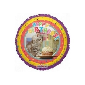 Palloncino Mylar Mini Shape 22 cm. Happy Birthday Cat