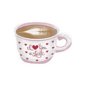 Palloncino Mylar Mini Shape 35 cm. Love You a Latte