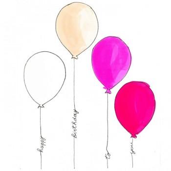 Biglietti Auguri - Compleanno Palloncini Colorati Bimba 15,5 x 15,5 cm.