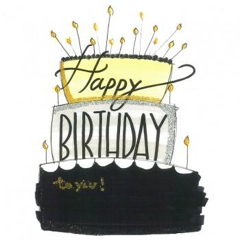 Biglietti Auguri - Compleanno Torta Oro/Nera 15,5 x 15,5 cm.